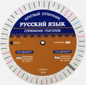 Русский язык на отлично. Спряжение глаголов (Таблица-вертушка) (5029)