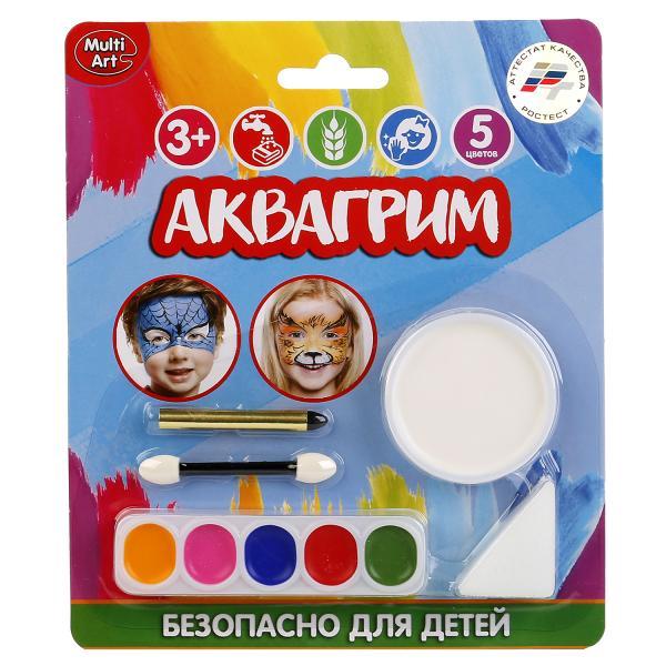 Аквагрим MultiArt 6 красок, спонж, аппликатор, карандаш на блистере (русс. уп.) в кор.6*24шт