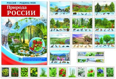 РОССИЯ - РОДИНА МОЯ. Природа России. В папке 10 демонстрационных картинок А4 с беседами на обороте, 12 раздаточных карточек, 2 закладки