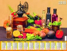 Календарь для кухни. Календарь настенный листовой на 2018 год