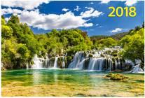 Водопад на реке. Настенный трехблочный квартальный календарь на 2018 год с курсором в индивидуальной упаковке (Европакет)