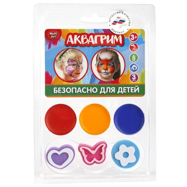 Аквагрим MultiArt 3 цв. красок масл. осн., 3 штампа-трафарета в пласт. (русс. уп.) в кор.2*12шт